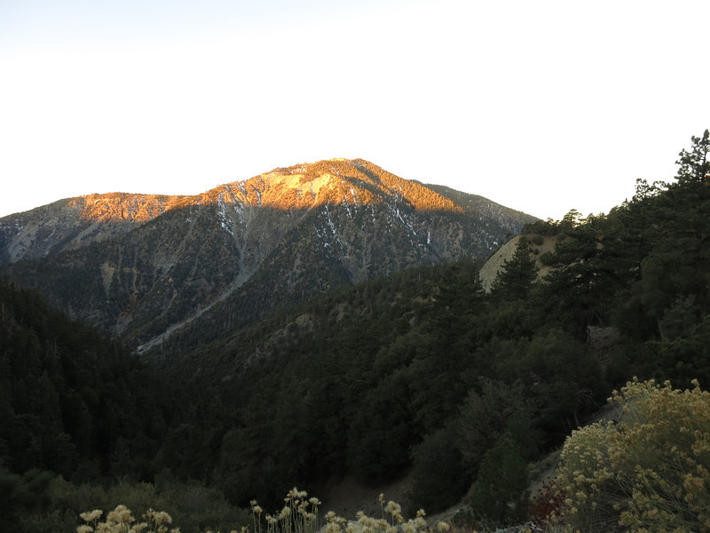 Early morning light hits Mt. Baden-Powell, seen from Hwy 2.