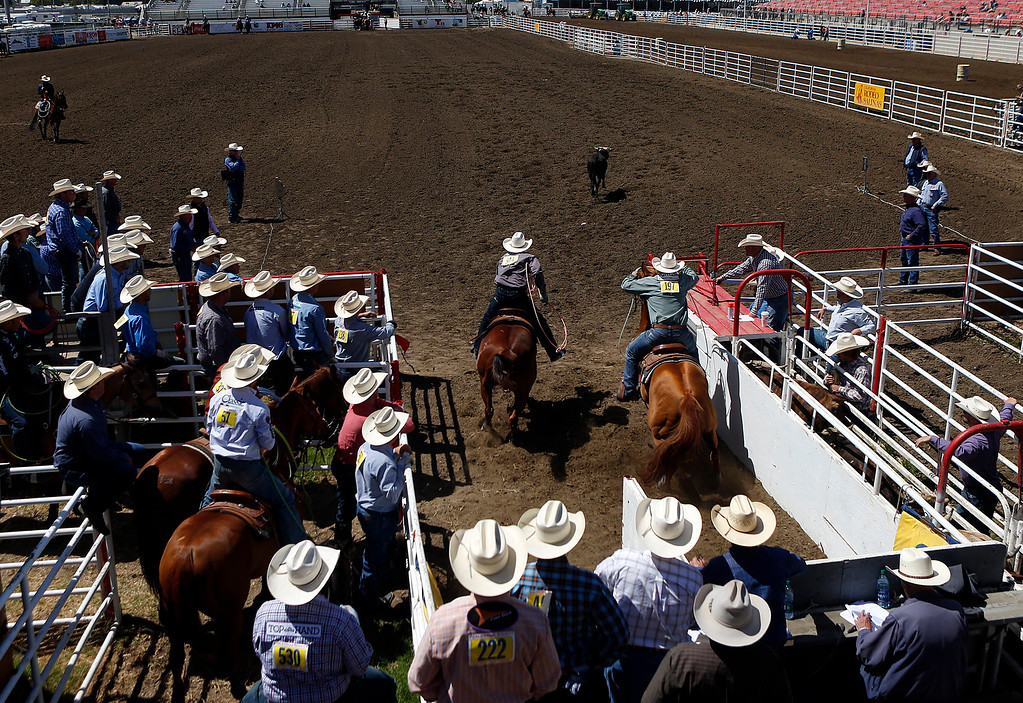 . Team ropers compete during the California Rodeo Salinas at the rodeo grounds in Salinas on Thursday July 20, 2017. (David Royal/Herald Correspondent)