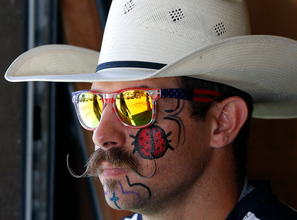 . Freestyle bull fighter Zach Flatt waits to compete in the event during the finals of the California Rodeo Salinas at the rodeo grounds in Salinas on Sunday July 23, 2017. (David Royal/Herald Correspondent)