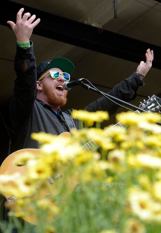 . Roots of Creation lead singer and guitarist Brett Wilson performs at the California Roots Music and Art Festival at the Monterey County Fair and Events Center on Sunday May 28, 2017.  (David Royal - Monterey Herald)