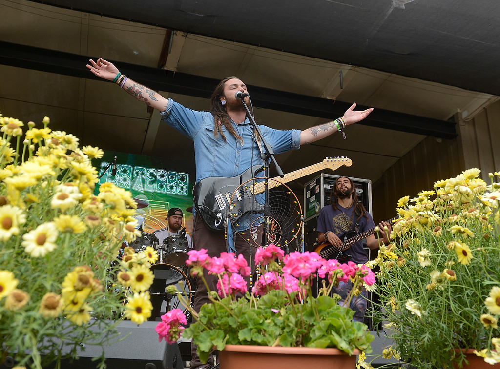 . Iya Terra lead vocalist Nathan Feinstein performs with his band at the California Roots Music and Art Festival at the Monterey County Fair and Events Center on Sunday May 28, 2017.  (David Royal - Monterey Herald)