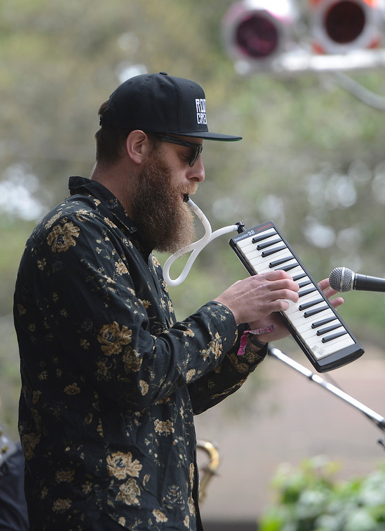 . Roots of Creation keyboard player Tal Pearson plays medolica with his band at the California Roots Music and Art Festival at the Monterey County Fair and Events Center on Sunday May 28, 2017.  (David Royal - Monterey Herald)