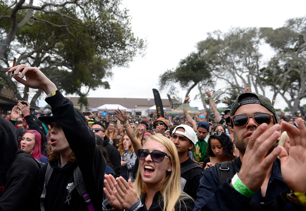 . Reggae fans throw watch Iya Terra perform at the California Roots Music and Art Festival at the Monterey County Fair and Events Center on Sunday May 28, 2017.  (David Royal - Monterey Herald)