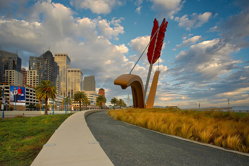 I was careful to include the Ferry Tower right under the bow with some good first light at sunrise.  This enormous work of art was created by internationally renowned artists Claes Oldenburg and Coosje van Bruggen. Composed of fiberglass and steel, the sculpture stands approximately 60 feet tall and is 130-140 feet wide.