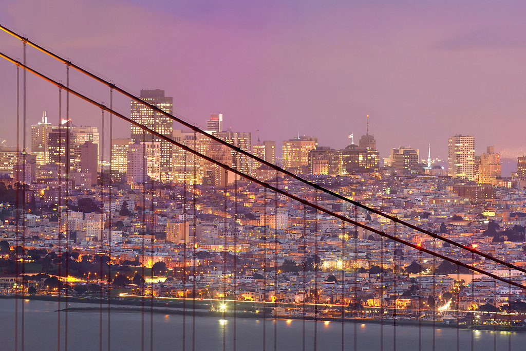 This is part of a 1.1 gigapixel (13,423h x 80,540w, 1x6 ratio) view of San Francisco.  It can be printed at 24x36 inches at 300DPI.  The panorama was created from 112, 11-second exposures with the Canon 5D MKII, a Canon 500L lens with a 1.4 extender.  The photos were taken  were taken just after sunset from the Marin Headlands on three different evenings under similar lighting conditions.  The panorama could easily be printed at 36ft wide by 6 ft tall (200dpi) with fine resolution with no pixelation or noise visible!