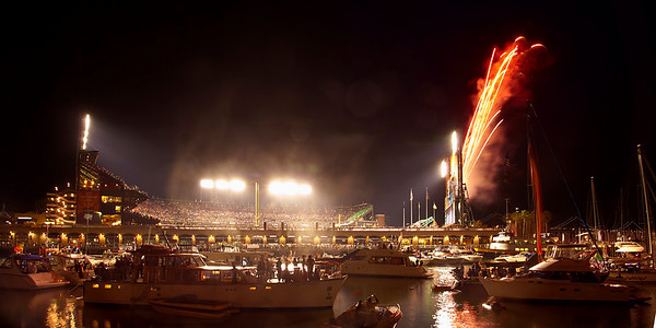 Fireworks explode at the moment of the last out in the Giants' 11-7 victory over the Texas Rangers in Game 1 of the 2010 world series.  This is a single 2.5-second exposure.  The Giants went on to win it all!!!  No HDR.