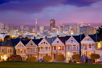 Alamo Square and the Victorian style 'Painted Ladies' are well known photo locations.  So in order to make an image that would stand out, I had to wait for a stormy day where the clouds would open up right at sunset to produce warm light against the clouds and cityscape.  A 1-minute exposure softened the sky and ensures that none of the people and dogs playing on the grass were visible.