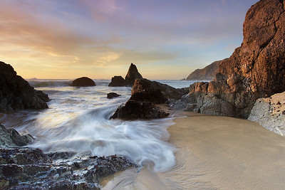 """This is the view just before I made """"The Monolith at Grey Whale Cove 1 and 2.""""  A low tide at sunset during the winter time is the only time when this view can be seen.  Usually this is underwater and large waves pass through submerging this place under 5-10 feet of water.  I've been waiting a long time to capture this scene."""