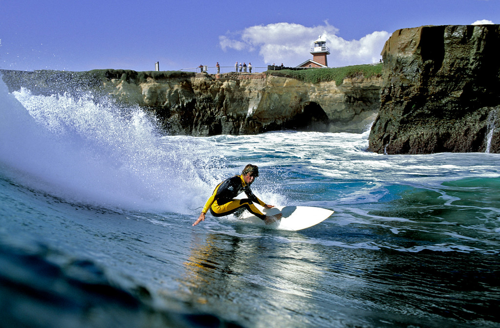 . Osh Bartlett surfing in Santa Cruz.  (Vern Fisher - Monterey Herald)