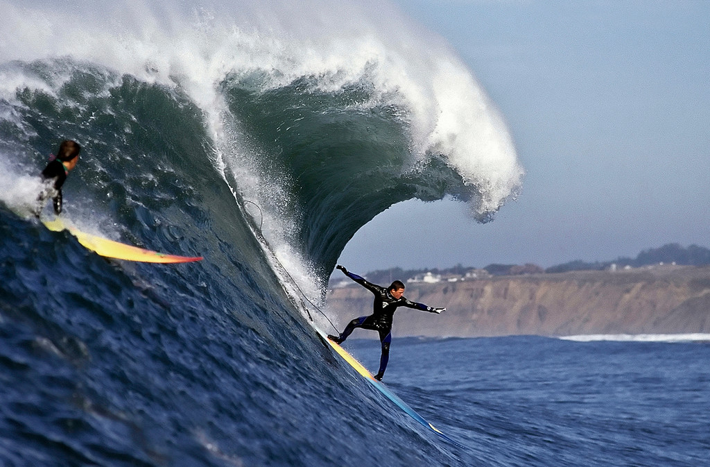 . Jay Moriarity from Santa Cruz surfs a big wave at Mavericks on Wednesday, December 21, 1995. (Vern Fisher - Monterey Herald)