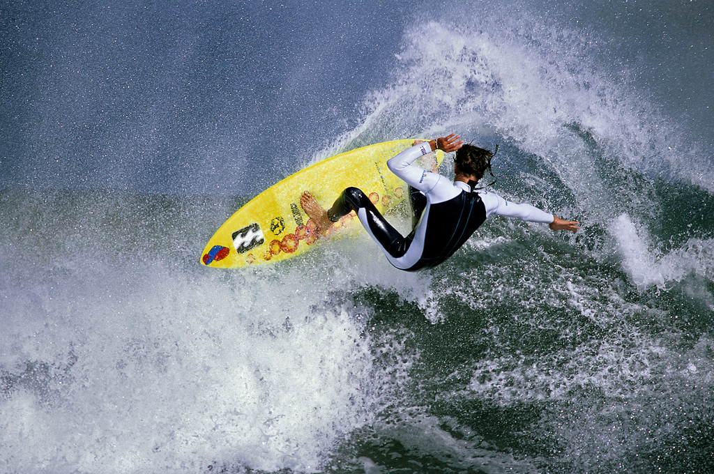 . Josh Loya surfing in Santa Cruz.  (Vern Fisher - Monterey Herald)