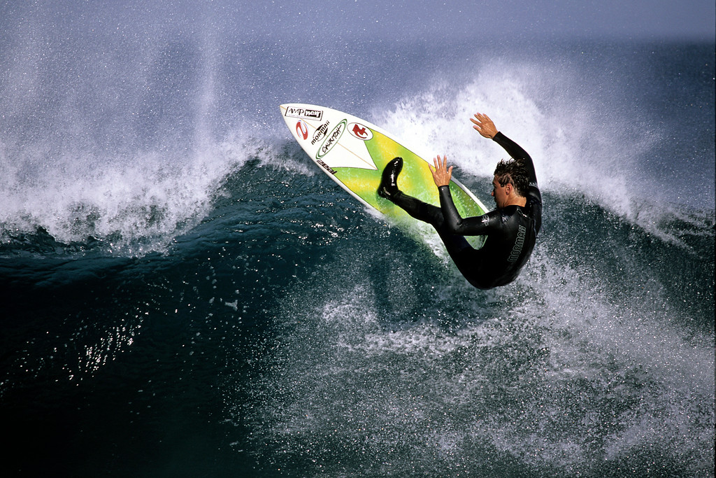 . Josh Mulcoy surfing in Santa Cruz.  (Vern Fisher - Monterey Herald)