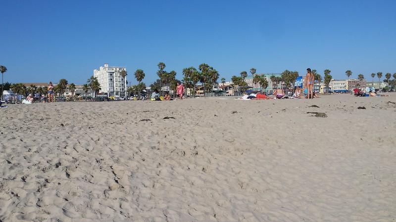 View of Venice Beach boardwalk from the beach itself