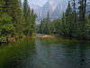 Taken from the bridge over the Merced River.  You can see some rafters down the river as well as Upper Yosemite Falls.