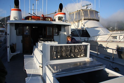 Our tiny boat--with Penny helping the skipper