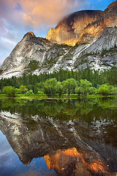 Last light on 5,000+ foot Half Dome reflected into Mirror Lake. I had to perch on a very uncomfortable rock for quite a while until the  light became good. One slip and me and the camera would be in the water for sure.  There was no other place to get an open view. My other Half Dome images were taken on this rock too a few feet away. I try to not  have distractions around the edge, so sometimes you just have to get into inconvienient places for an open view!