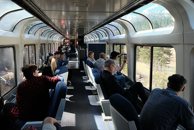 Passengers in the observation car admire the Truckee River west of Reno as volunteers from the California State Railroad Museum read about the history of this stretch of the line.