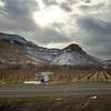 The California Zephyr passing dormant vineyards near Grand Junction, Colorado