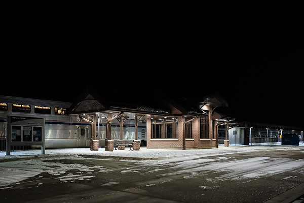 A lonely night at the Winnemucca train station, Nevada.