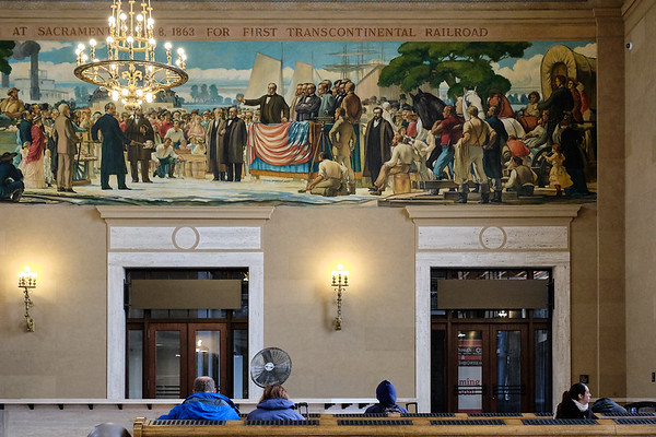 Passengers wait inside the Sacramento Valley Station, which serves thousands of passengers every day.  The station was built in 1926 at the western terminus where the Central Pacific Railroad was begun in 1863.