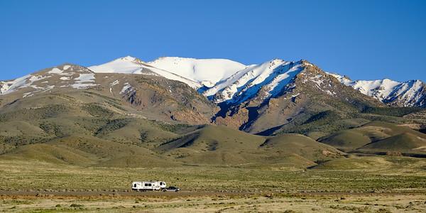 Late-April snow covering Star Peak and Thunder Mountain near Lovelock, Nevada.