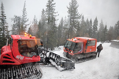Snow removal operators and equipment working to keep the Union Pacific lines near Donner Pass open during a storm.