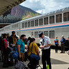 Passengers preparing to embark aboard the California Zephyr at Glenwood Springs, Colorado.