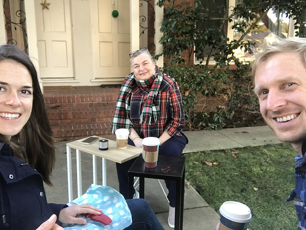 Christmas drinks with our Menlo Park neighbor, Toddy