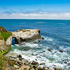 Beautiful rocky coast, Pacific ocean. Santa Cruz  coast , California, USA.