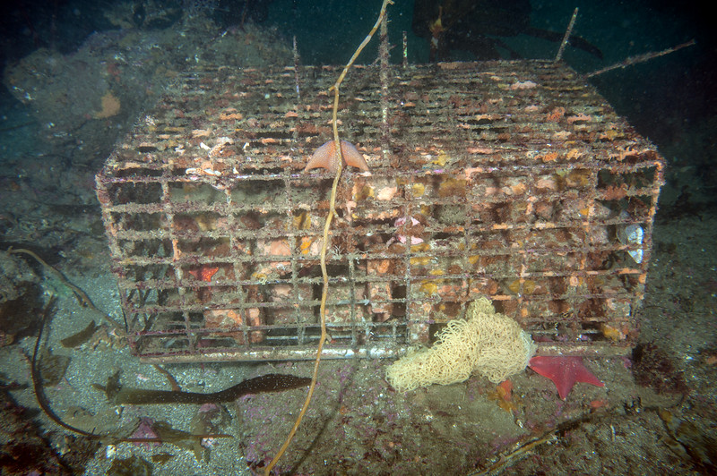 One of three lobster traps filled with bricks