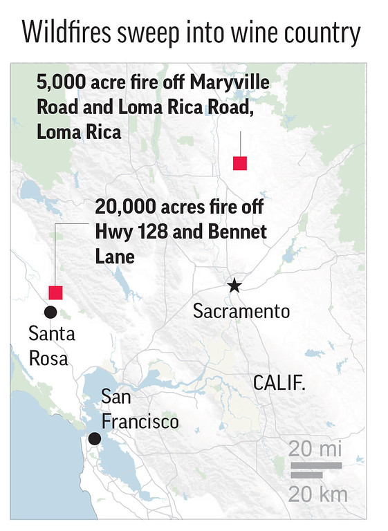 . More than a dozen wildfires swept through California wine country.