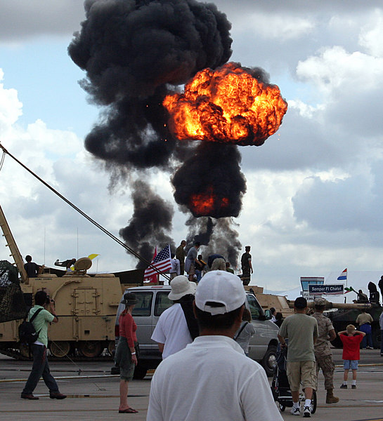 I caught this at the very end. This was one of the smaller explosions. It wasn't an accident it was a simulated air/ground assault on the airstrip