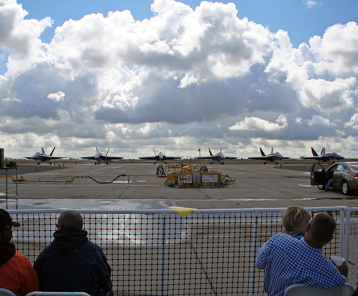 The Blue Angels lined up on the ramp.