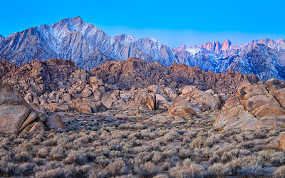 Mt Whitney dawn from the Alabama Hills