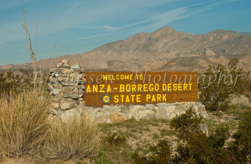 Anza Borrego State Park entrance sign, California, USA.