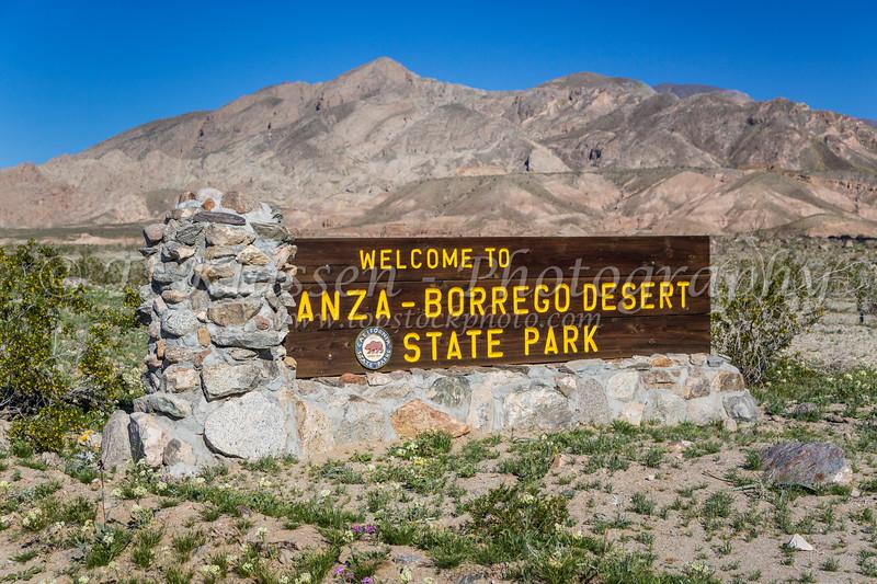 A welcome sign at the entrance to the Anza Borrego Desert State Park, near Borrego Springs, California, USA.
