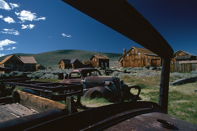 Bodie through abandoned car window