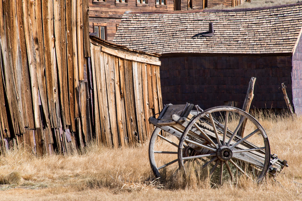 usa, california, bodie state park, ghost town, architecture, transportation, wagon