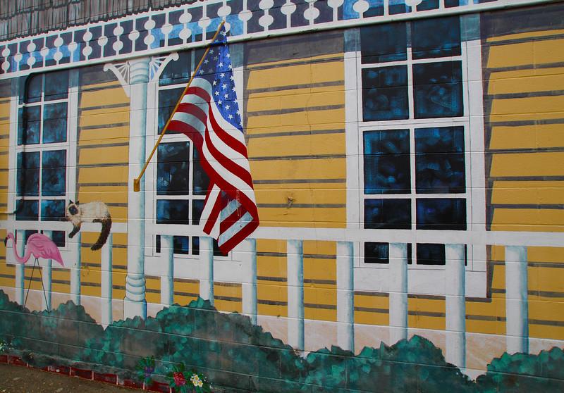 Lompoc California,  Whimsical Mural on Art Gallery