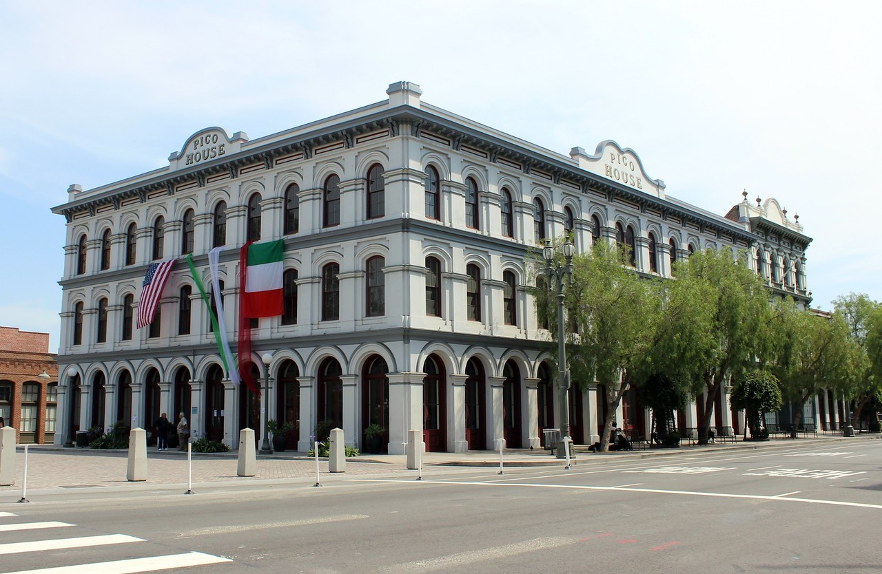 Pico House with American and Mexican Flags