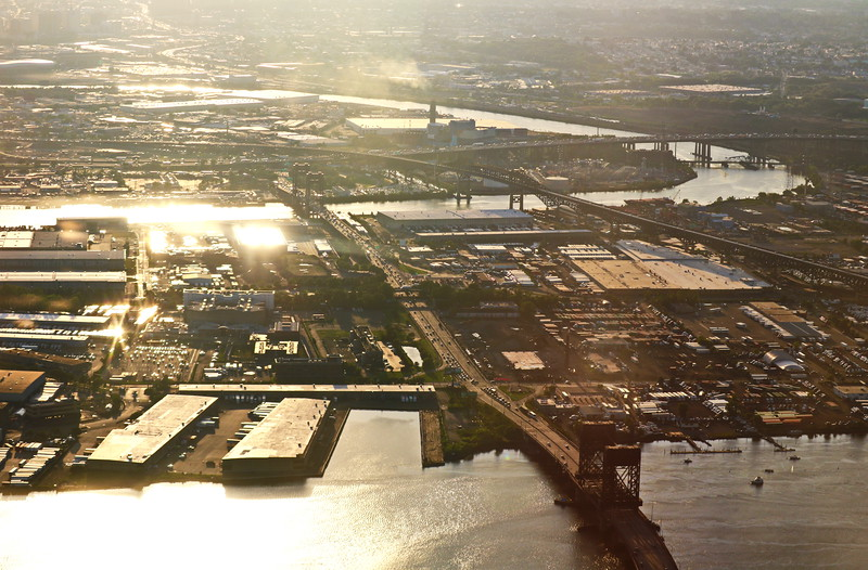 Los Angeles River and Bridges Connect Industrial Ports