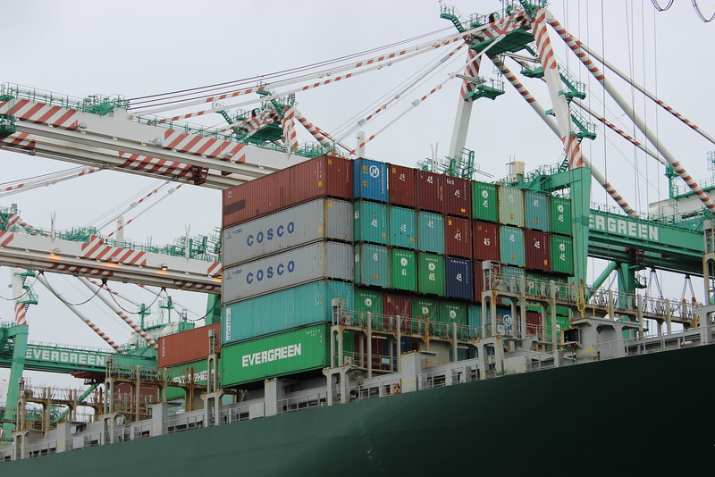 Cosco and Evergreen Cargo Containers