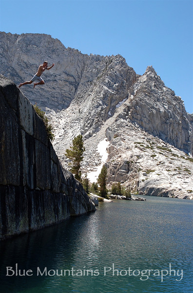 Brave soul jumping into Horseshoe Lake.