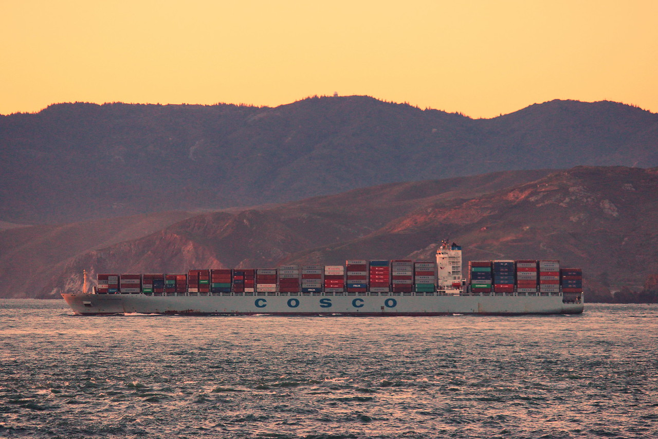 Cosco Cargo Ship Sails into San Francisco Bay