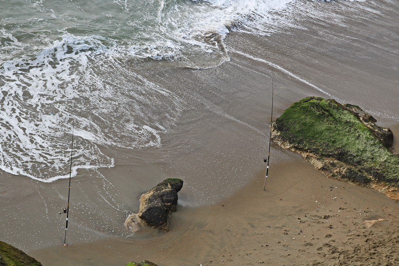 Fishing at Baker Beach