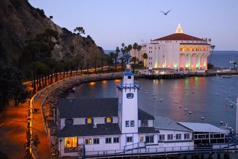 Catalina Island: Casino Walk, Casino with Holiday Lights