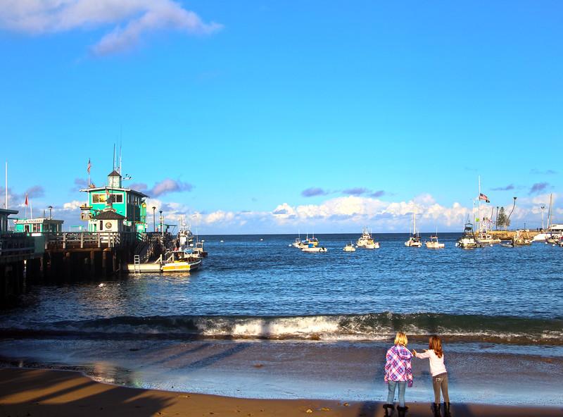 Catalina Island:  Girls Playing on Avalon Harbor Beach