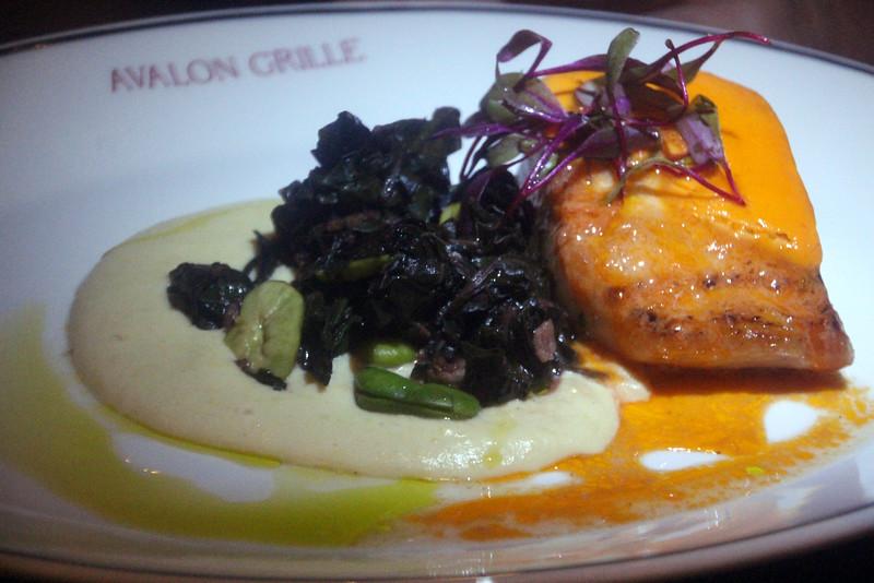 Catalina Island: Avalon Grill, Mahi Mahi, Corn Puree, Fava Beans, Swiss Chard