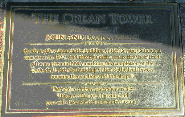 The Crean Tower Plaque - John and Donna donated the last two milliion dollars to pay off the $5.5 million tower.