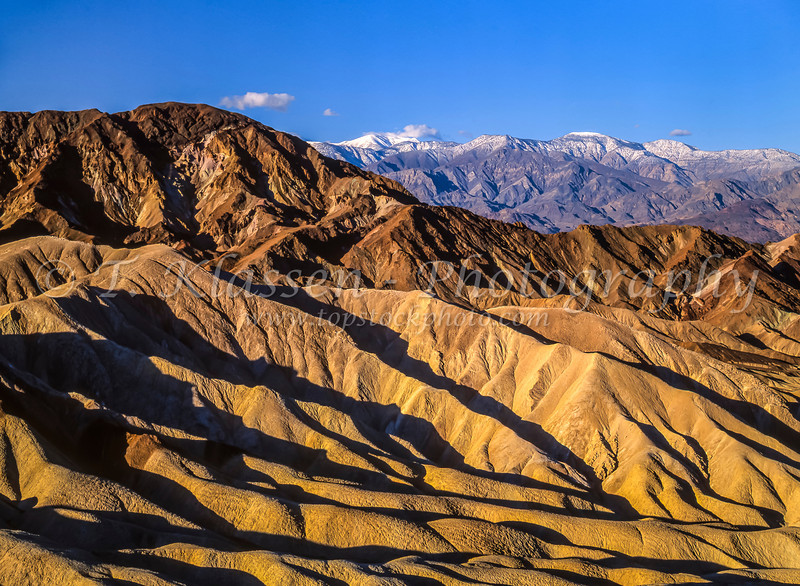 Eroded mountain slopes near Zabriskie Point in Death Valley National Park, California, USA.